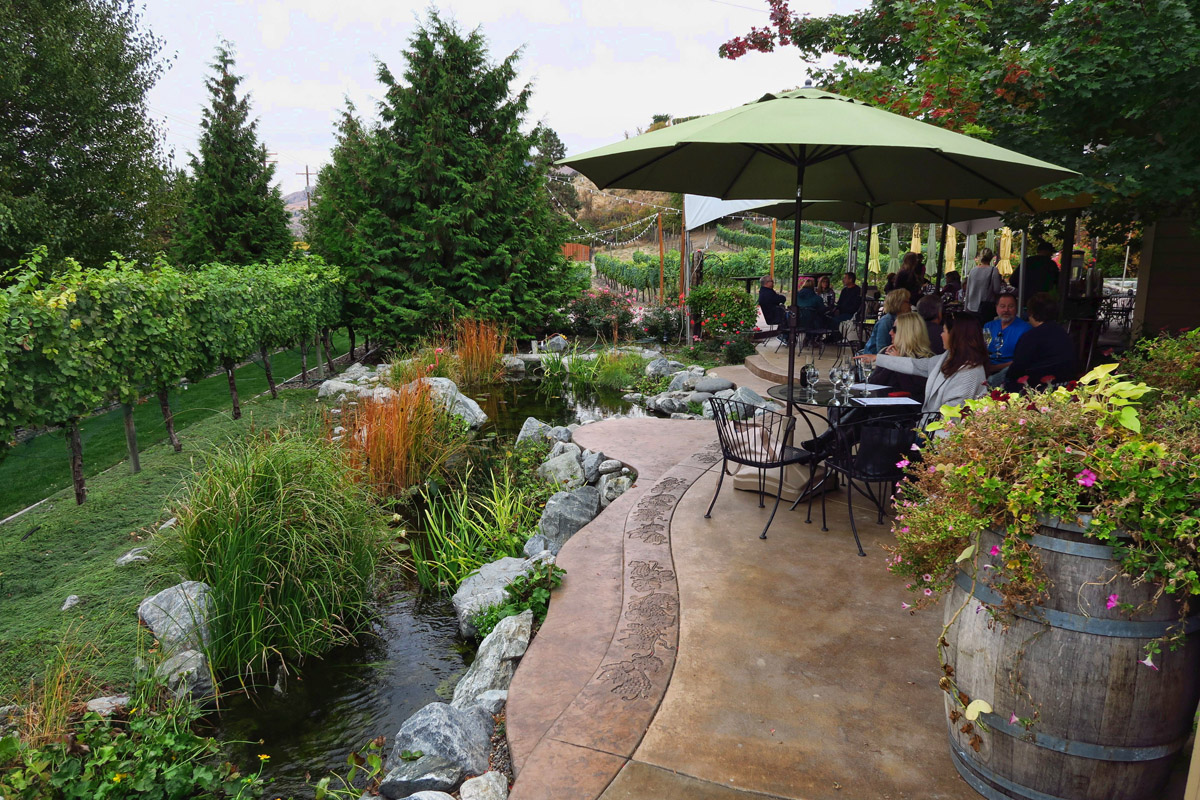 Tastings are offered on the patio.