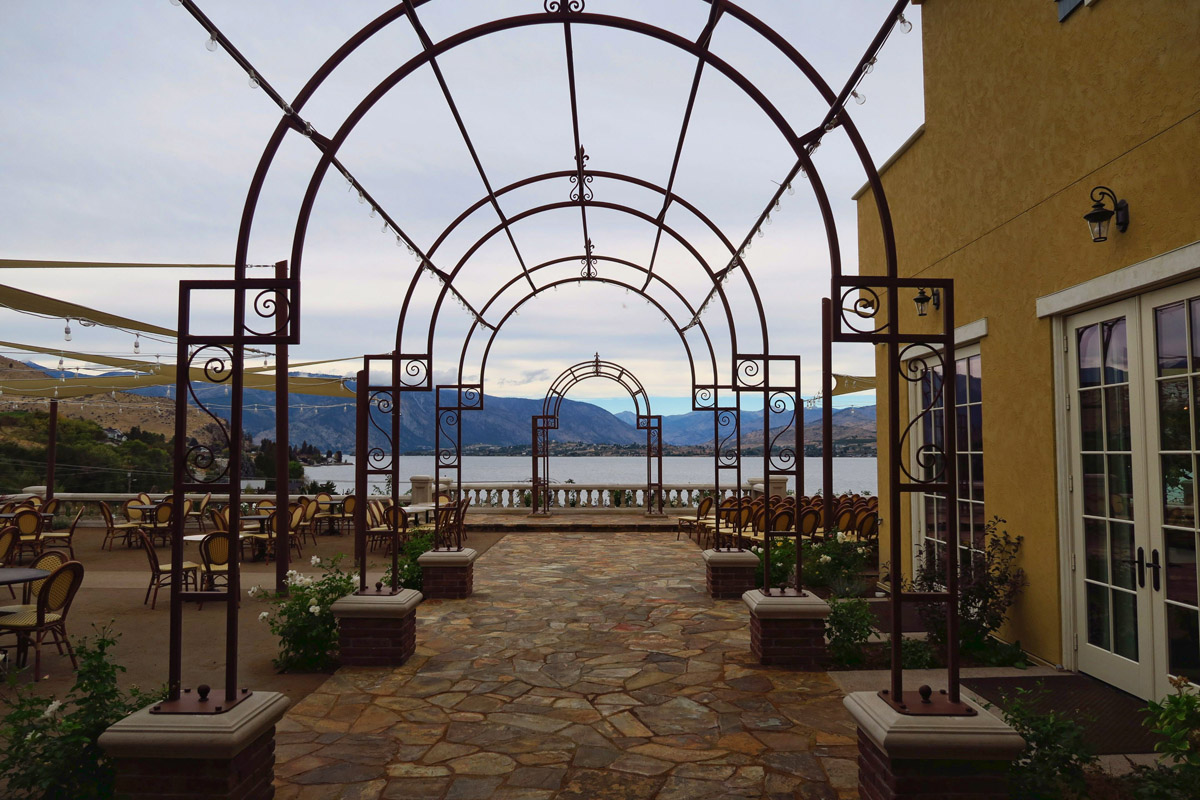 Beautiful patio overlooking Lake Chelan reminds me of Ravello, Italy.