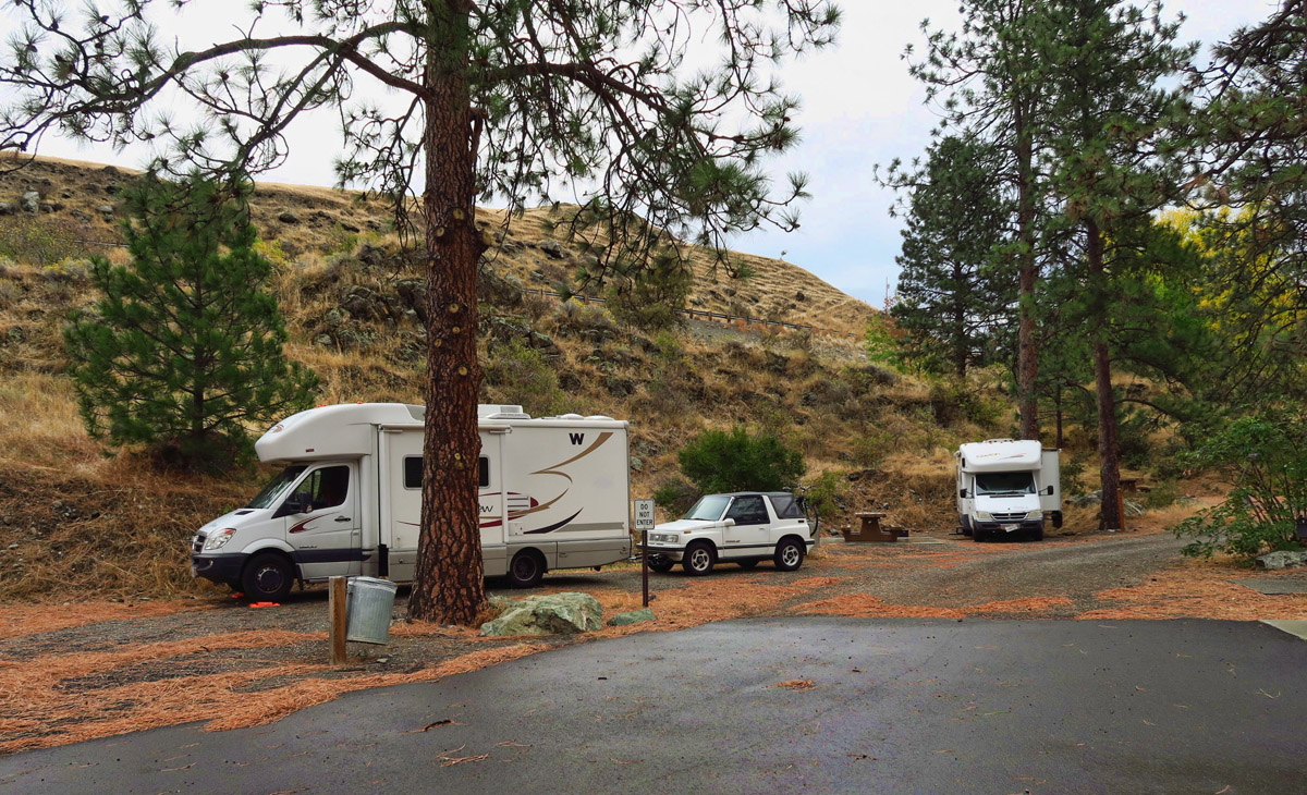 """We need a place to pull over before dark. What are the odds, we see a sign for """"Slate Creek Rec Area"""" a campground of only 5 sites along the road."""
