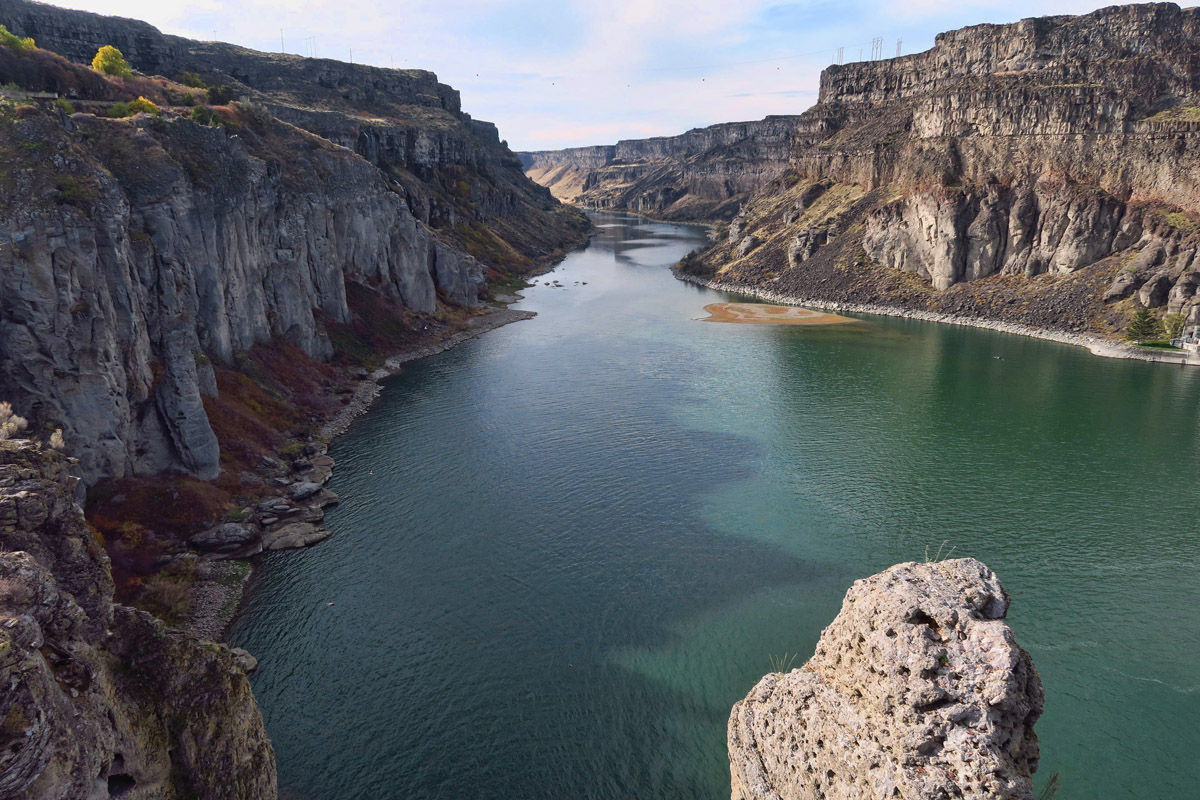Looking down river from Shoshone Falls Overlook.