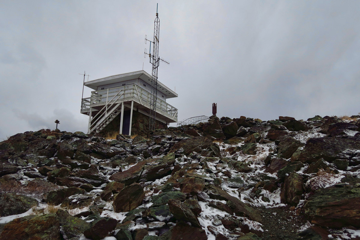Fire tower at the summit, elev 8,429 ft.