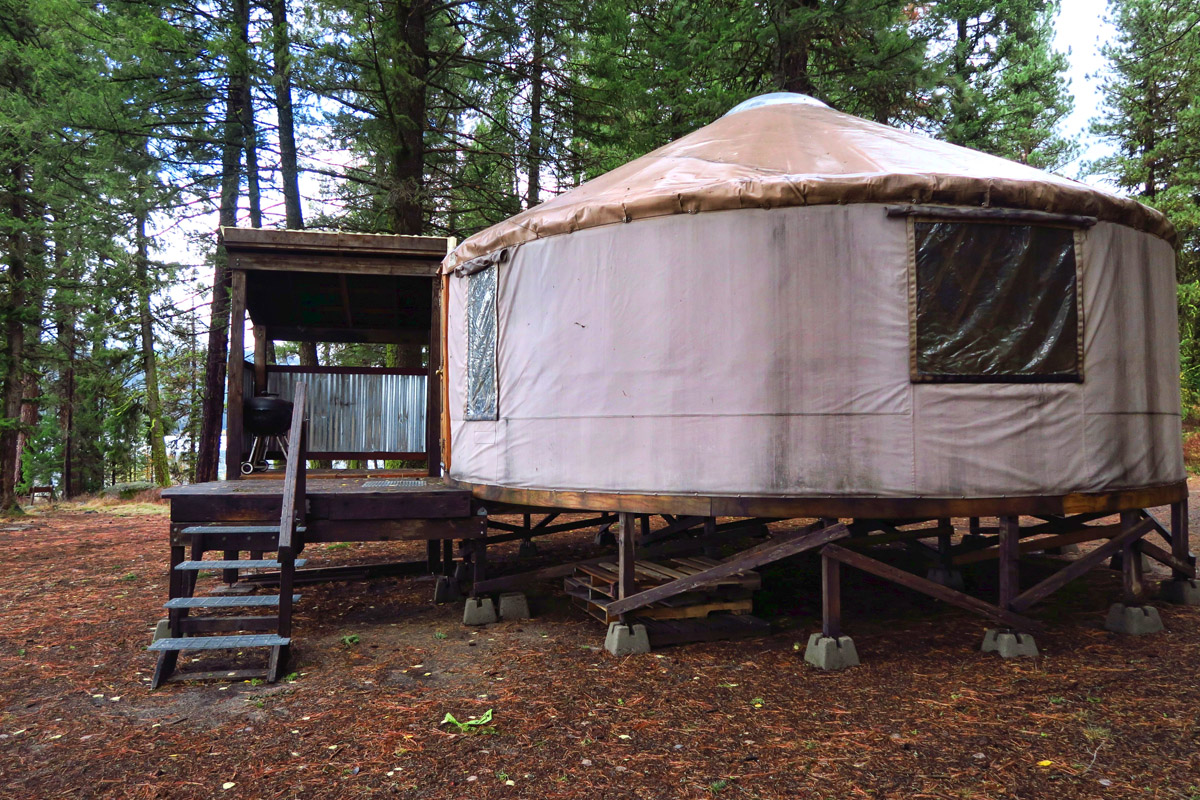 Many options around the lake, this one a Yurt.