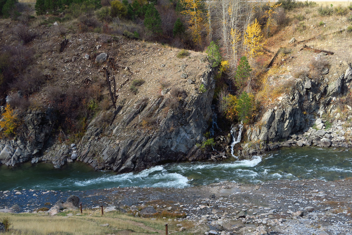 Waterfall across the Payette River.