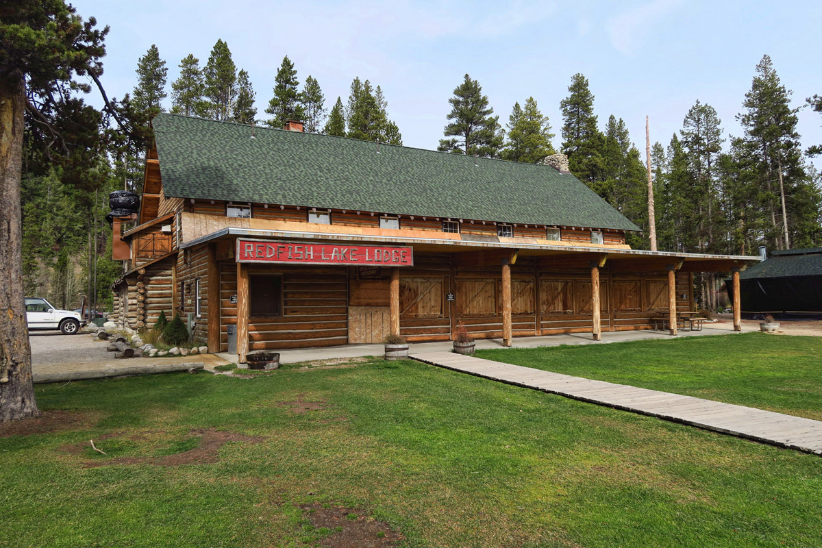 Rustic Redfish Lake Lodge, boarded up for the season.