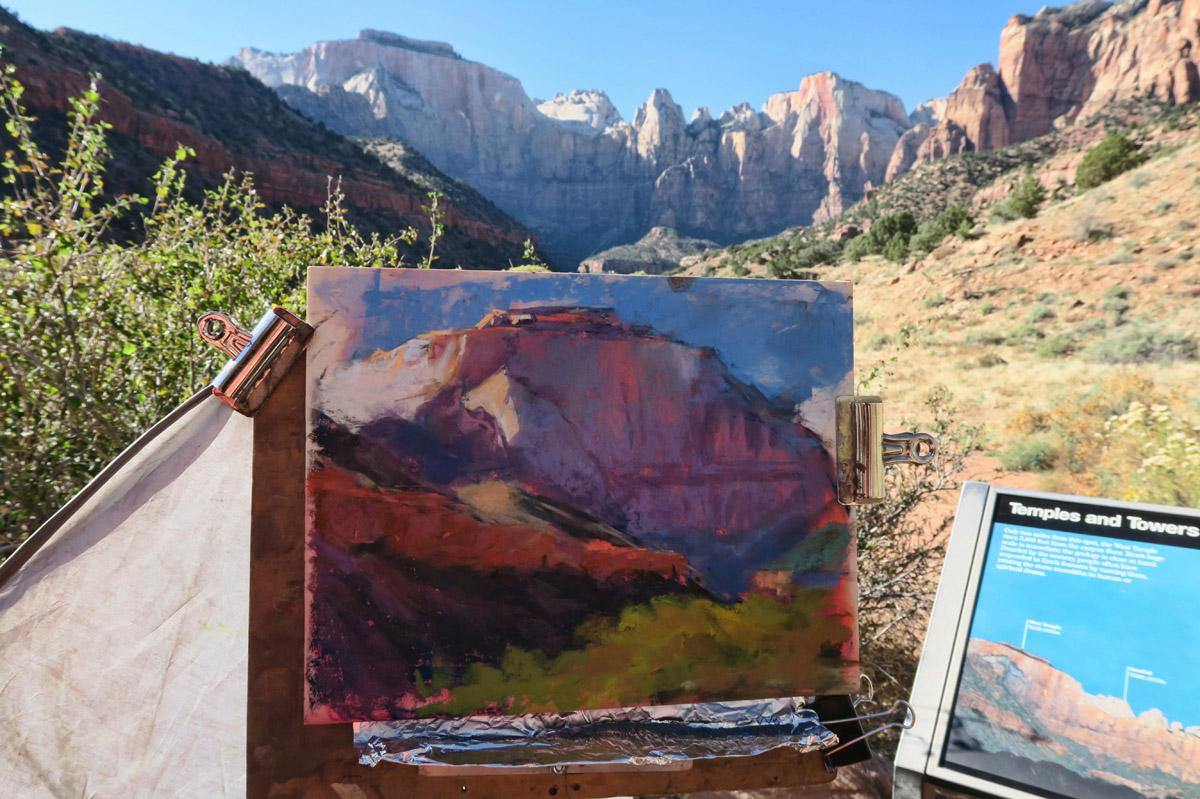 Plein Air Invitational demos, where featured artists paint and lecture in one hour sessions. This work by Linda Dellandre,