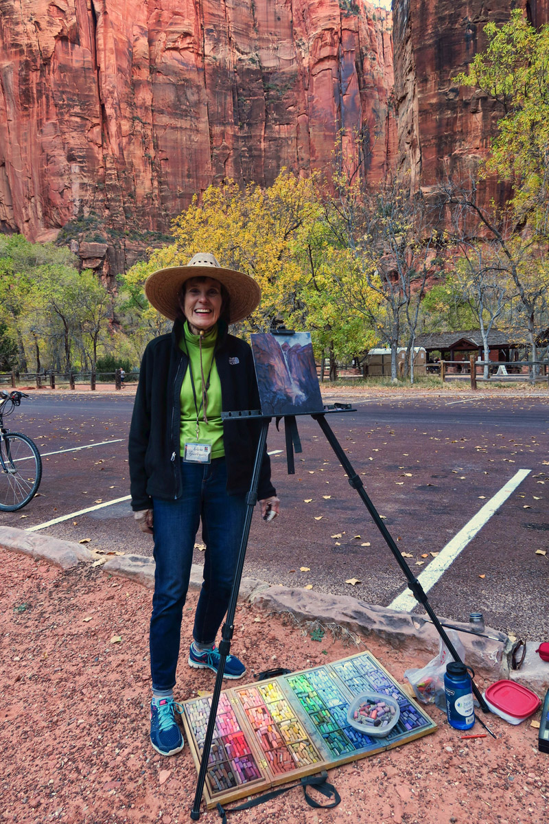 I meet Arlene Braithwaite, pastel artist, while riding my bike to the Temple of Sinawava.