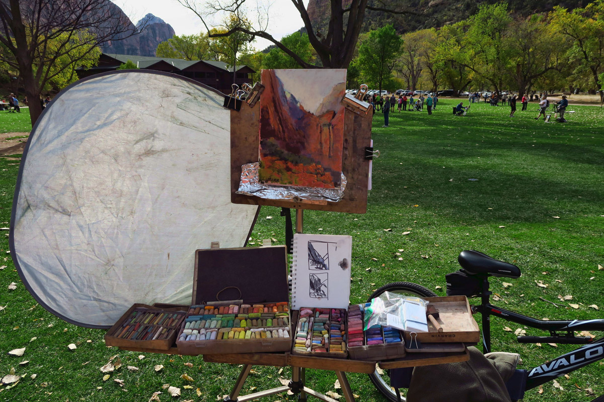 "On the final weekend, all artists assemble on the lawn of the Zion Lodge for the ""Paint Out."" This, by Linda Dellandre."