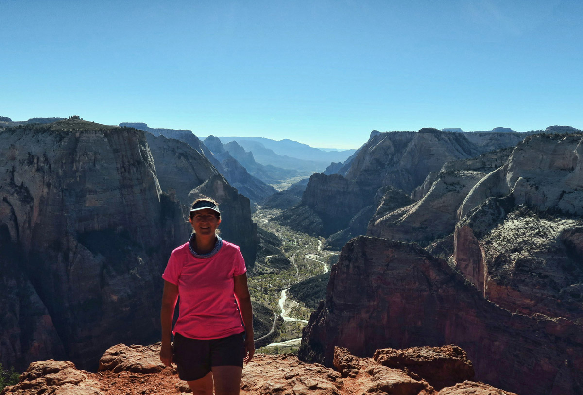 """Observation Point is an 8 mile hike round trip with 2,100 ft elevation gain. I made it in spite of the """"November heat!"""""""