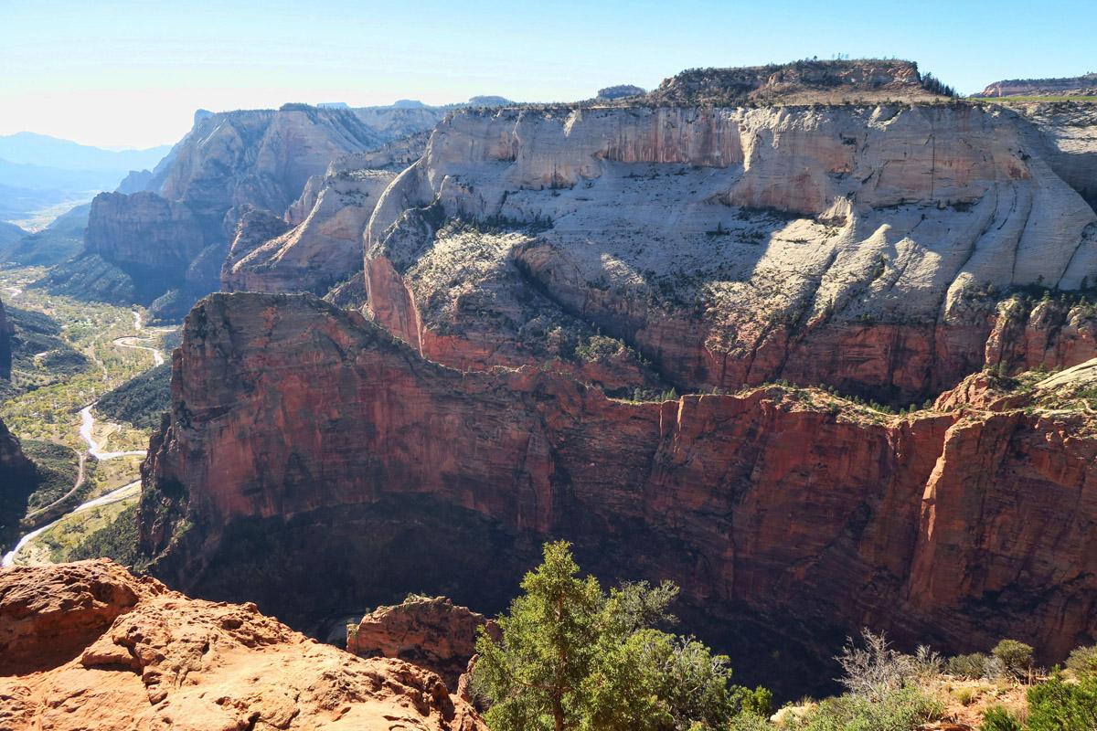 "Angels Landing is the ""dragons back"" ridge below. Kinda cool to look down on it..."