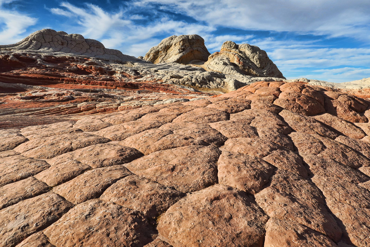 "These pink ""pillows"" are polygonal cracks produced by tensile stress, exposed by weathering."