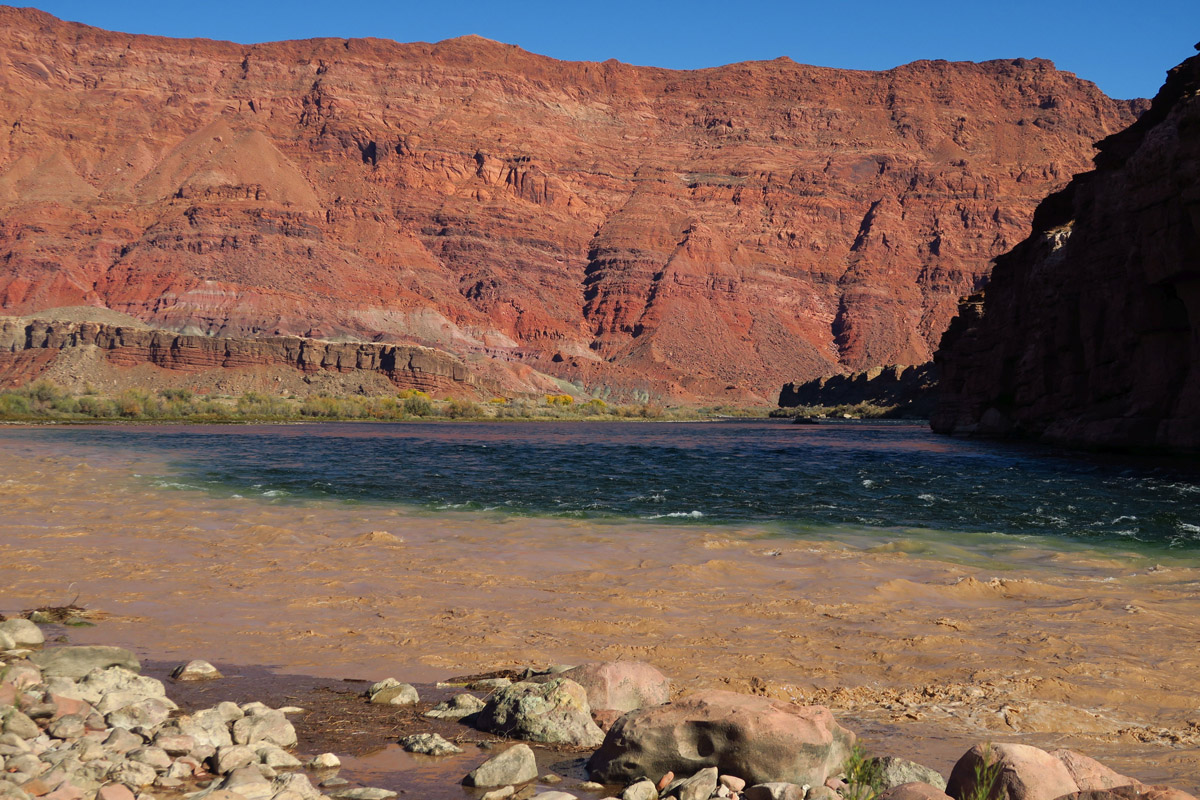 The Paria River looks like chocolate milk, while the Colorado is deep blue.