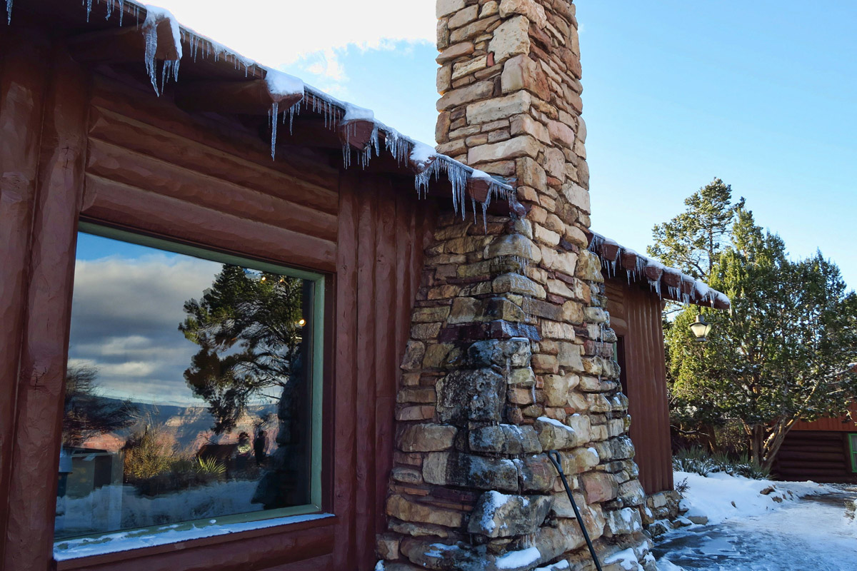 Icicles hang from the Bright Angel Lodge.