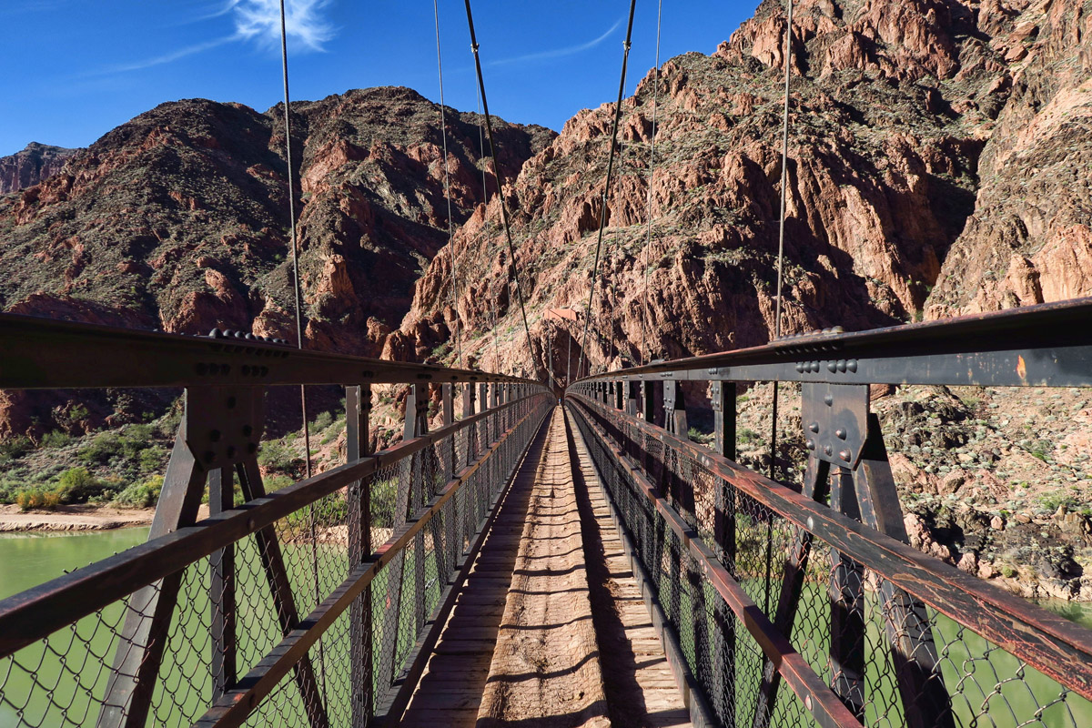 "Mules use this bridge instead of the Silver Bridge, because it has a solid ""floor"" and the mules can't see through the grate."