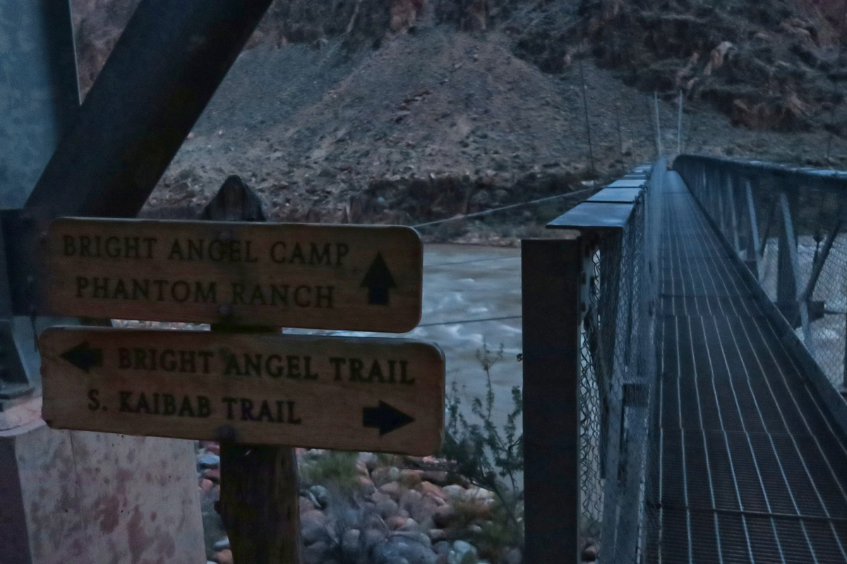 "Crossing the ""Silver Bridge,"" not to be confused with the ""Black Bridge"" to the South Kaibab Trail. Silver Bridge also carries the Transcanyon water pipe."