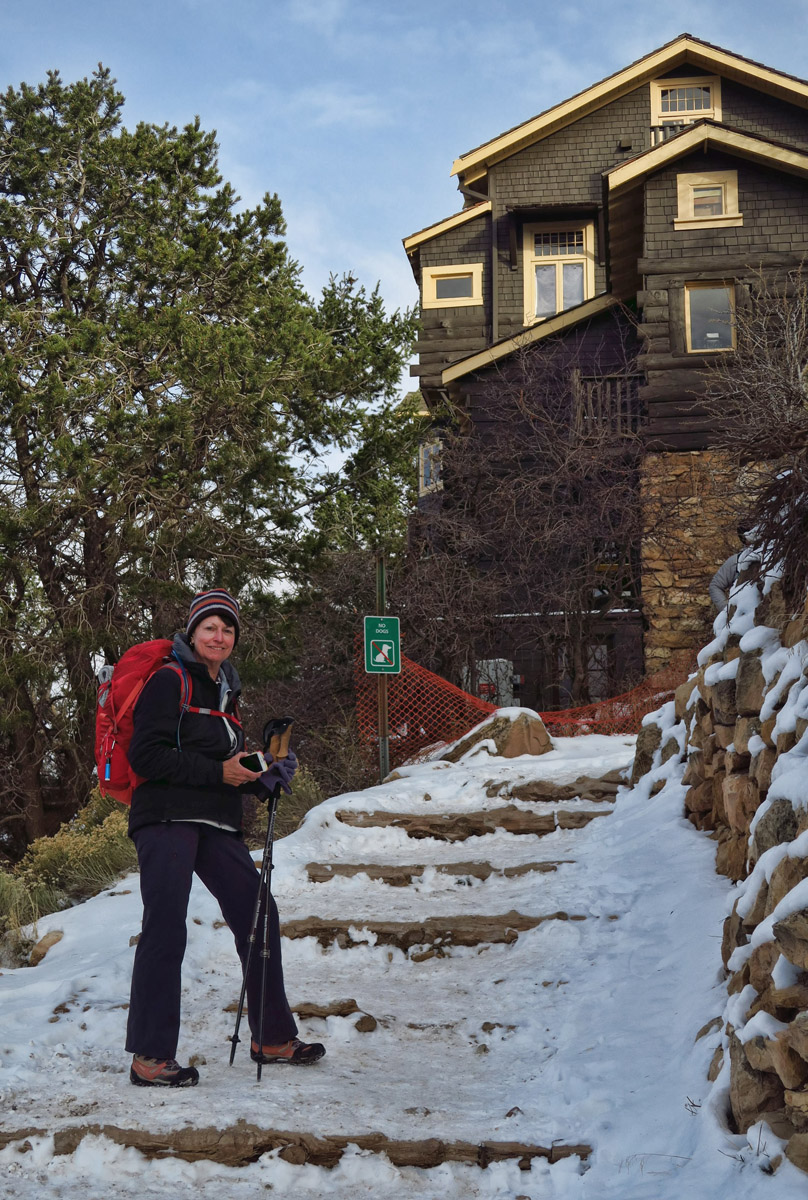 Char in front of Kolb Studio, which marks the end of the Bright Angel Trail.