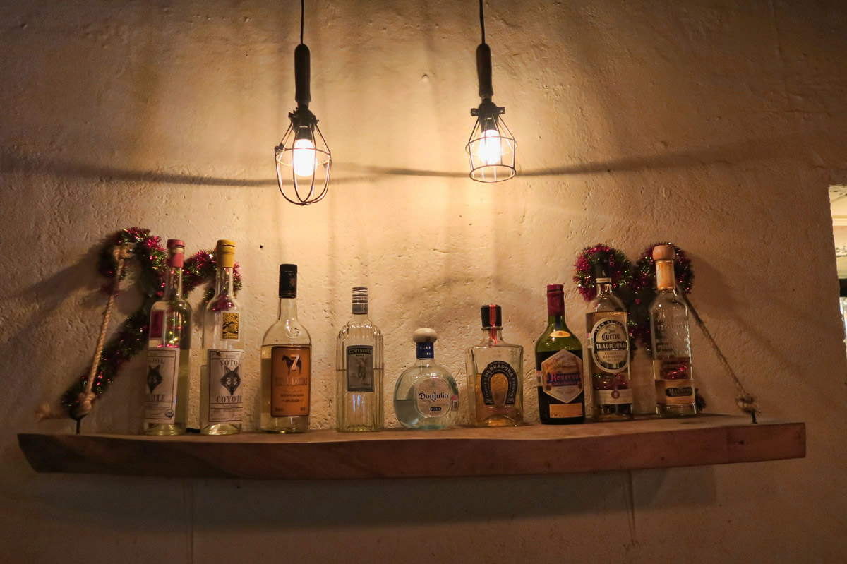 Bar scene at Don Tequila Taco, one of San Miguel's trendy new taco spots.