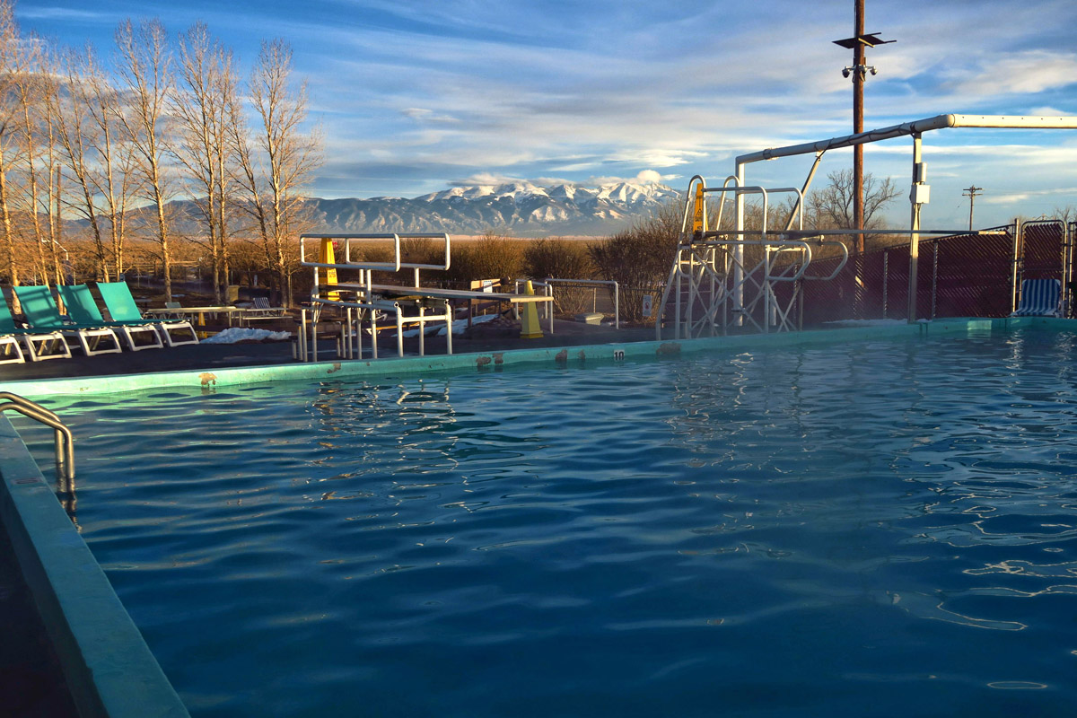 Swimming in the big pool offers a nice view of the Sangre de Cristos mountains.