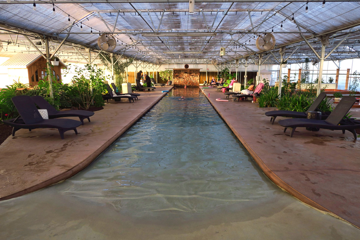 """Lots of options for soaking in the Greenhouse, including this """"Zero entry pool"""" which enables you to just walk in, increasing in depth as you walk."""