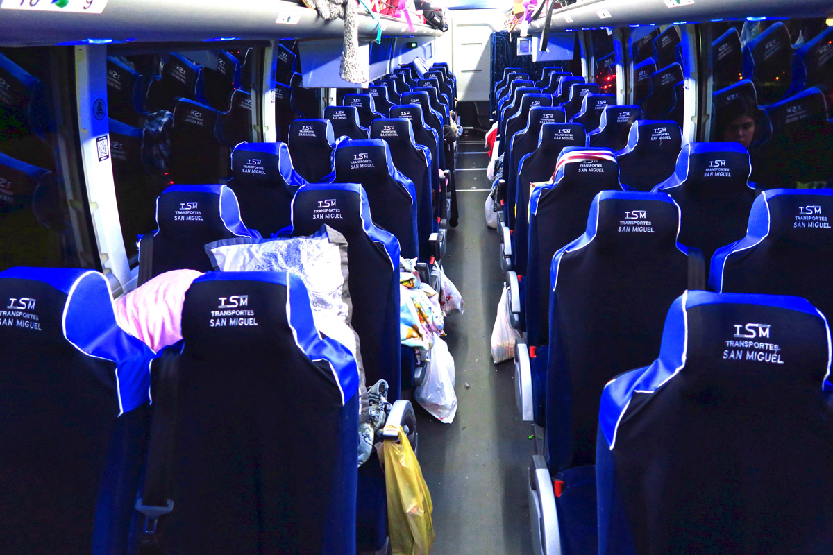 Transportes San Miguel, the trans-border bus that goes from Dallas to SMdA has brand new Volvo buses this year. Nice and clean, but they crammed in a few extra rows and took out the arm rest in between the seats. Sad!
