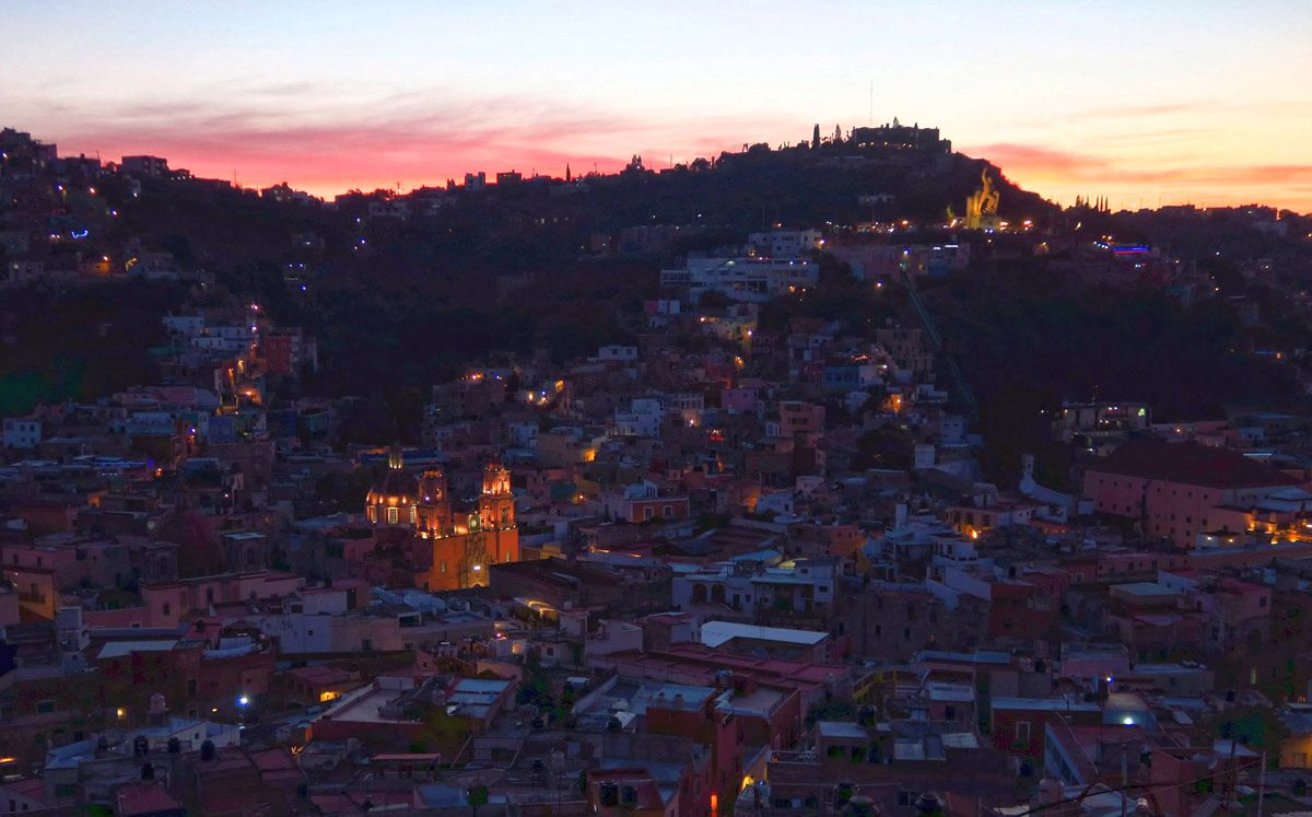 Overlooking the city of Guanajuato. The cathedral on lower left is the main church of the city, while El Pipila, statue the independence hero, overlook accessible via funicular, is in the upper right.