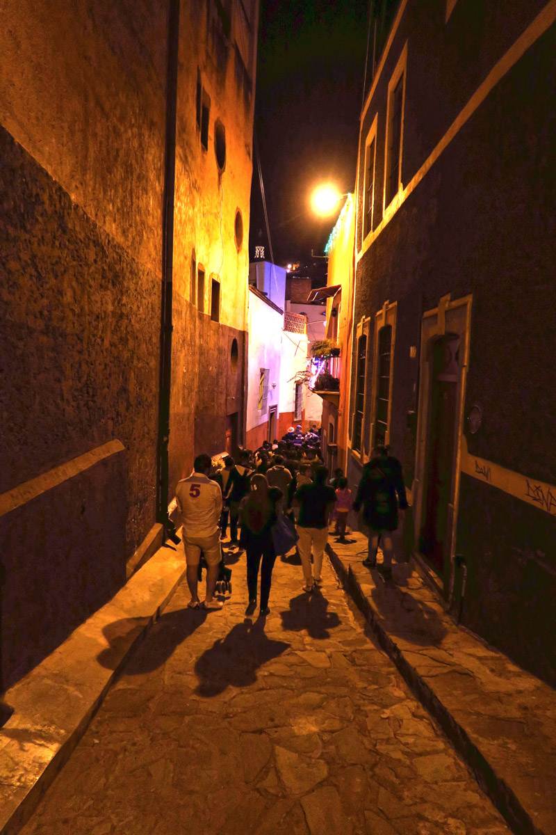 The acoustics of the tiny pedestrian streets add to the effect of the strolling musicians. This happens every night in Guanajuato, not just weekends or holidays.