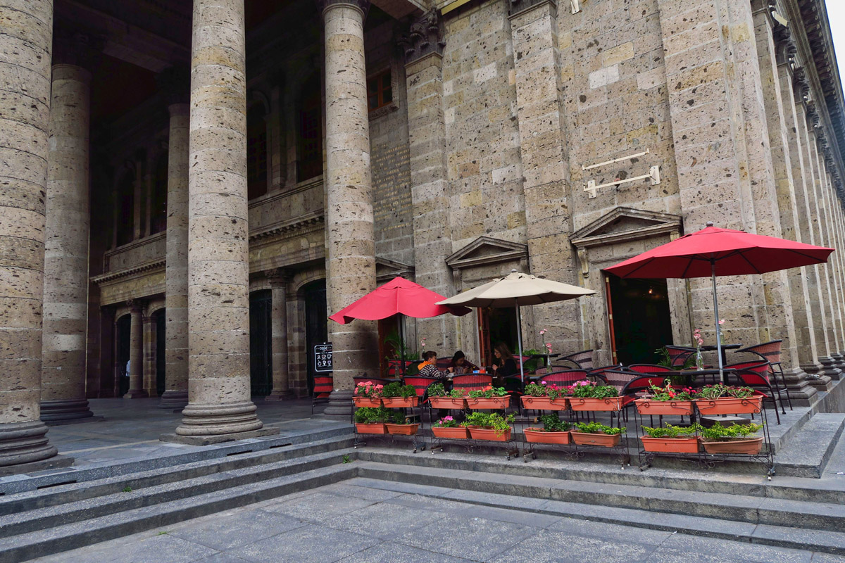 Cafe next to Teatro Degollado, Guadalajara's neoclassical theater built in 1866.