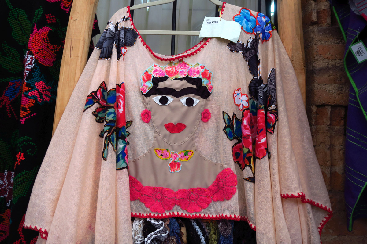 "Popular items always include the ubiquitous ""unibrow"" of Frida Kahlo."