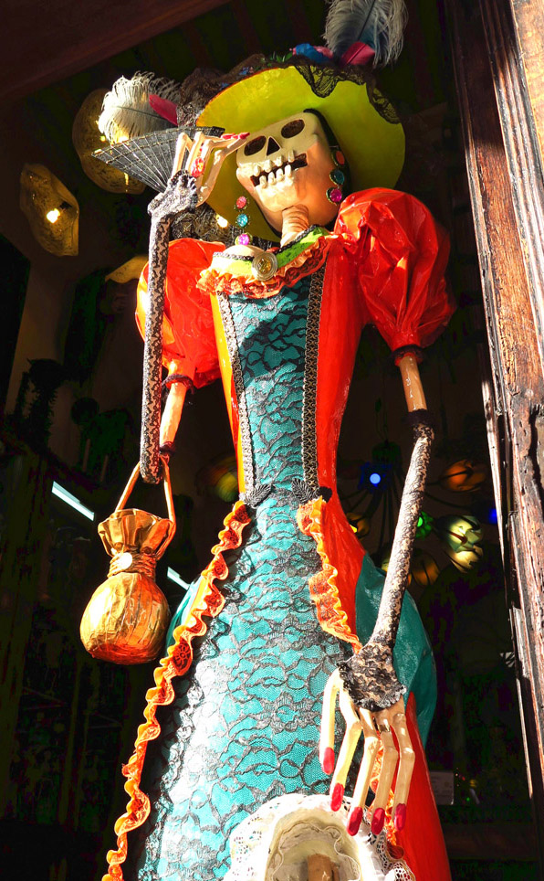 "A ""Katrina,"" or finely dressed skeleton, which is a common theme in Mexico, celebrating the Day of the Dead."