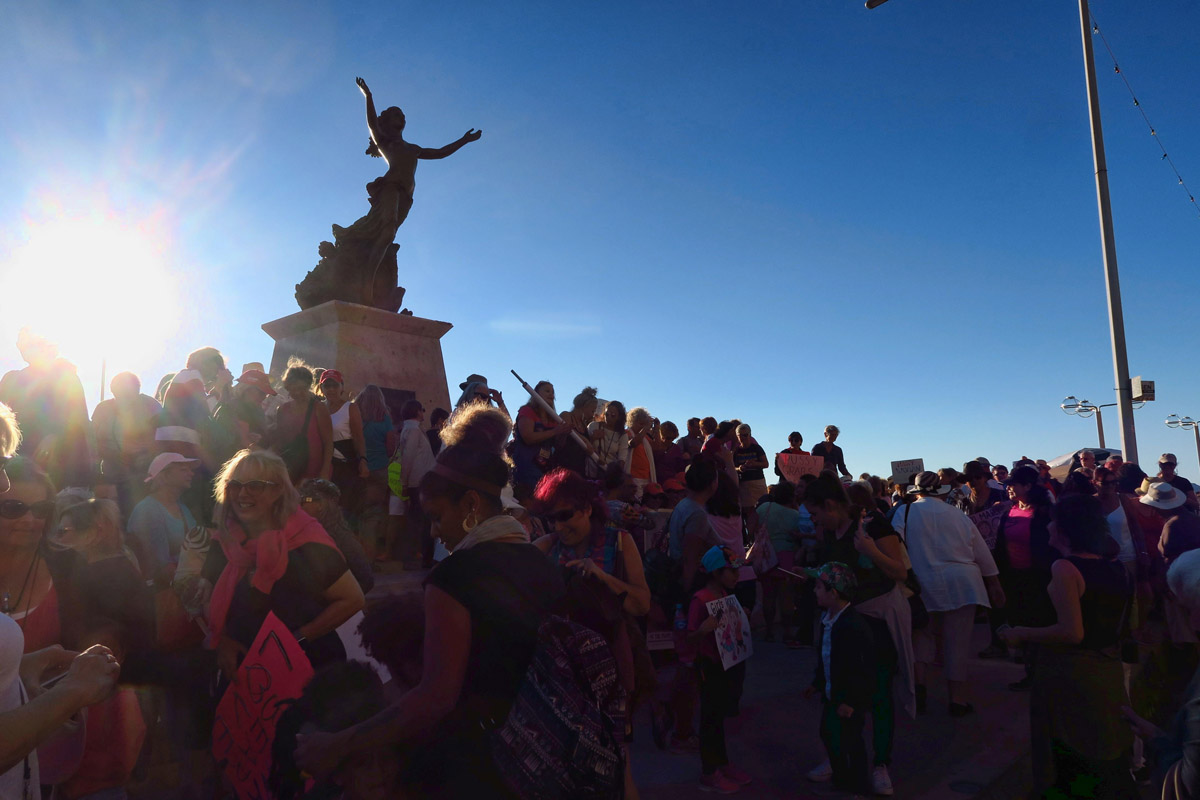 "The march culminated at The Mazatleca Woman Monument ""La Mujer Mazatleca"" a bronze statue celebrating the woman of Mazatlan."