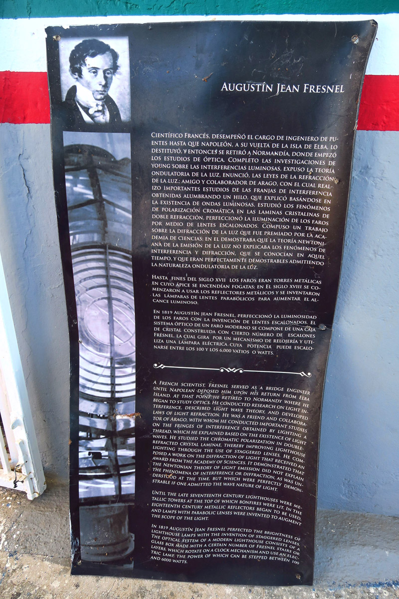 Out comes an almost life-sized, warped and worn poster of Augustin Fresnel and his claim to fame, the lighthouse lens.
