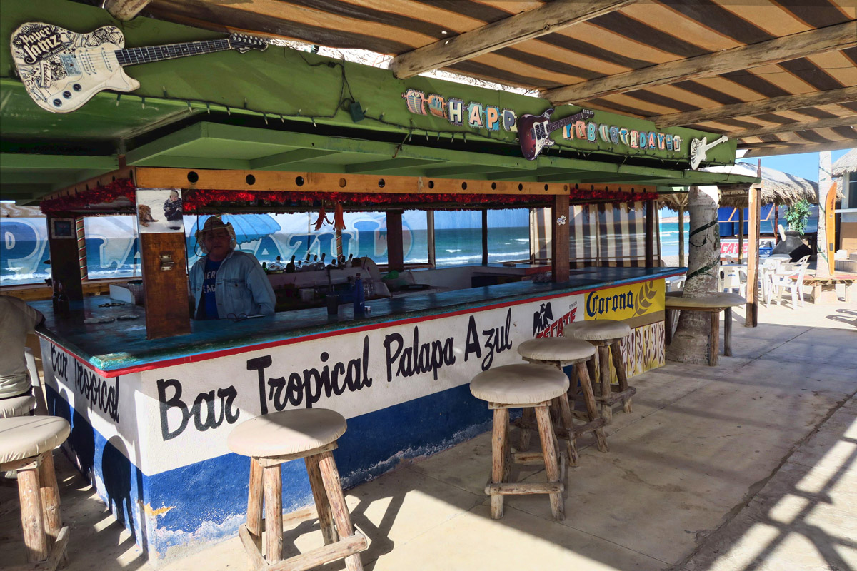 Playa Tecolote is lined with lots of beach bars and seafood restaurants.