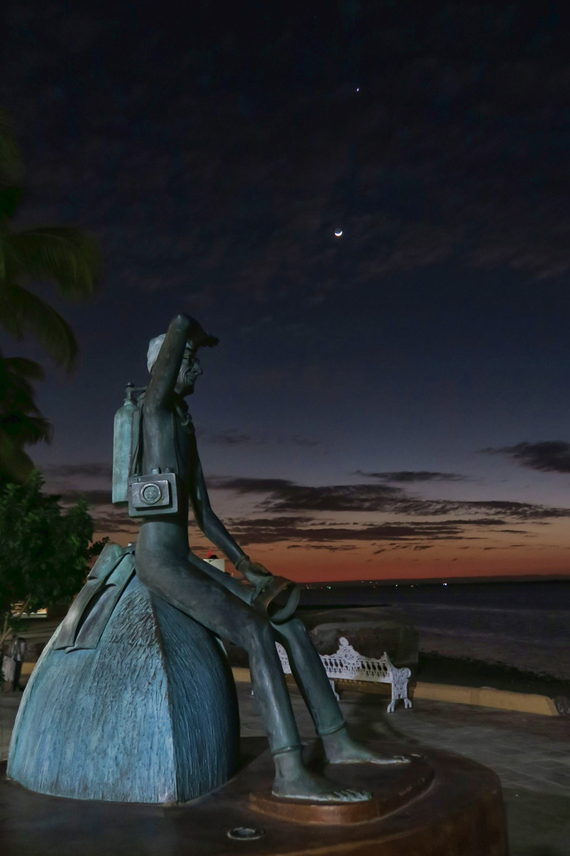 "My favorite malecon statue, a skinny Jacque Cousteau, who called the bay of La Paz, ""the world's aquarium."""