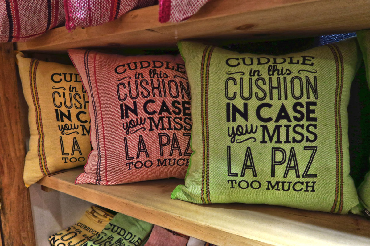 """Cuddle in this cushion in case you miss La Paz too much!"""