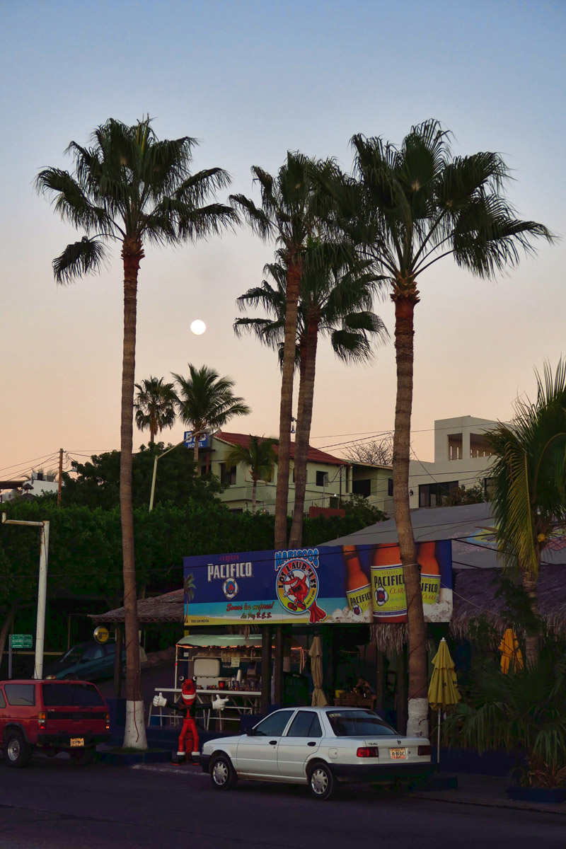 Full moon over one of my favorite restaurants in La Paz, Mariscos Los Laureles.