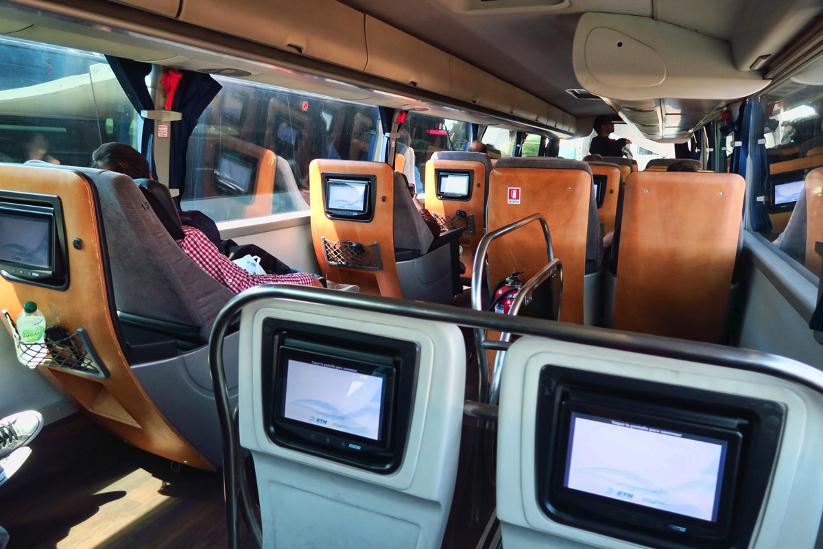 "The ETN ""Luxury bus"" from Mexico City to Guanajuato. Three across seating, suede leather seats slide forward into reclining position. Luxury indeed!"