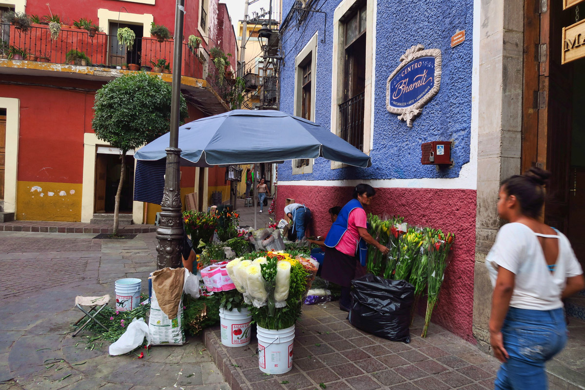 Makeshift flower stalls begin to appear Thursday midday before the festival.