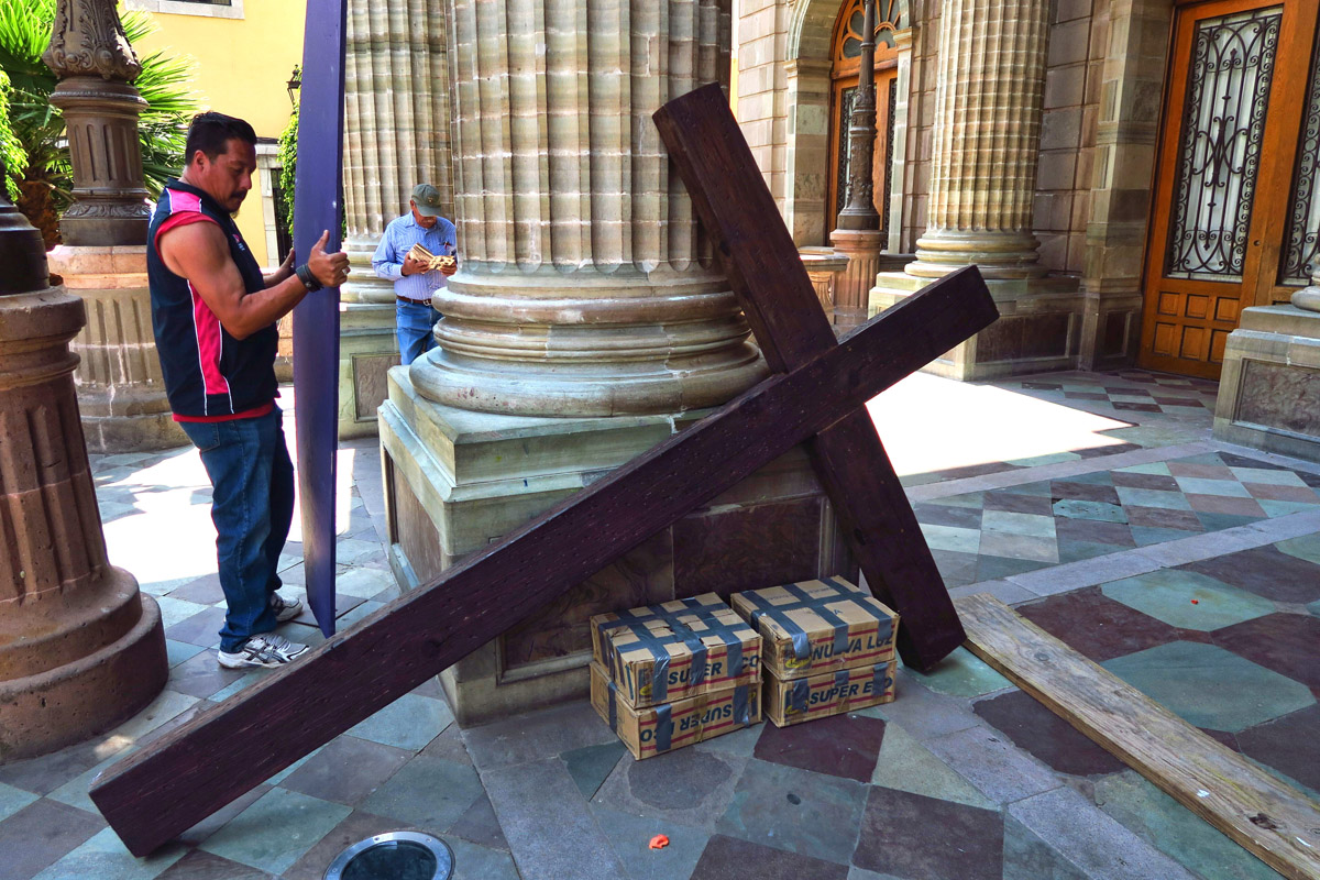 "This ""life-sized"" cross will be the focal point for the main altar in town, on the steps of the Teatro Juarez."