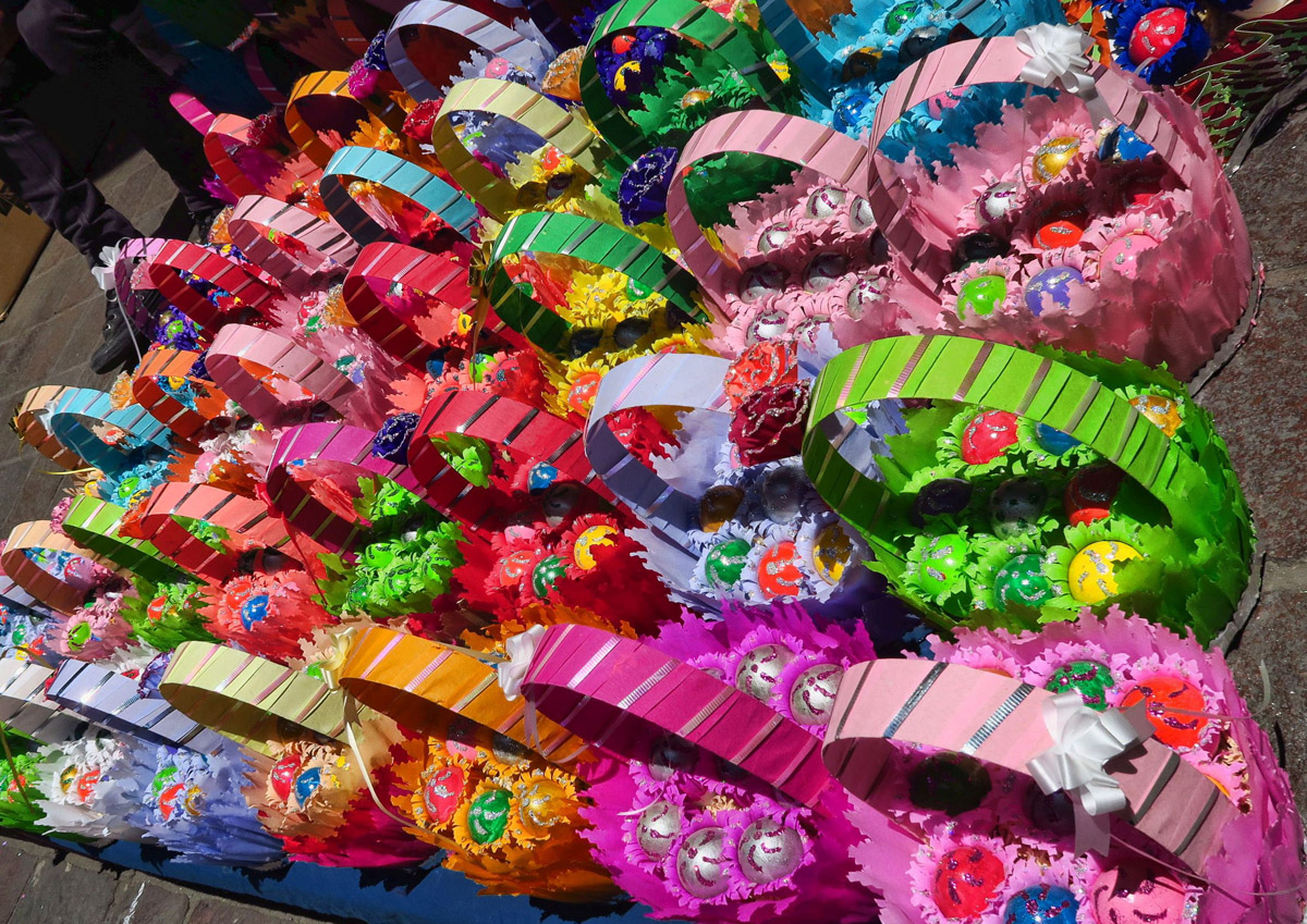 All these baskets contain confetti-filled eggs.
