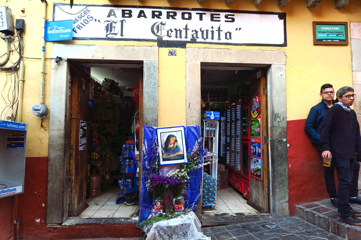 This is an example of one of the more modest altars around town, outside a small market in Plaza Baratillo.