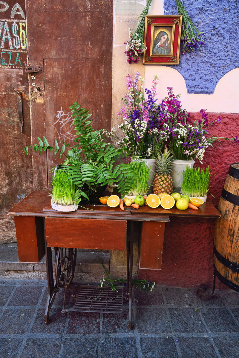 This was one of my favorites, outside a Juice Bar. A few pieces of fruit, sprouting wheat set on top of an antique sewing machine.
