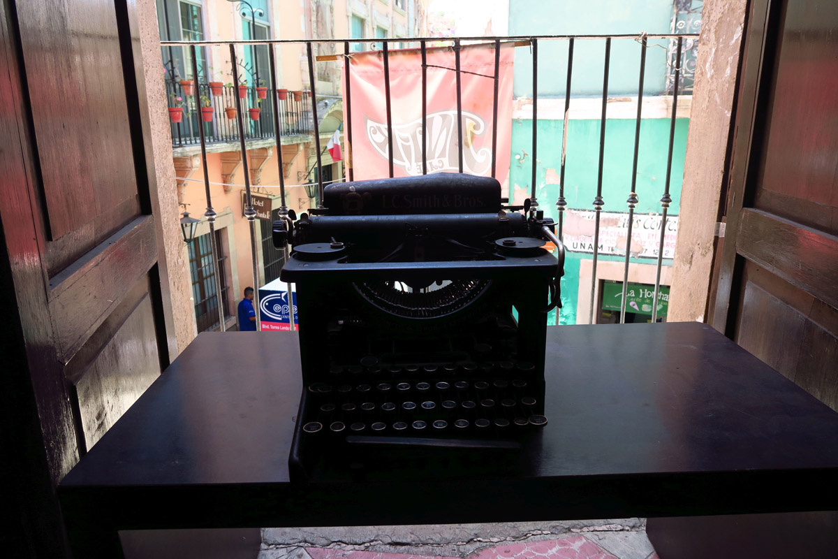 "Antique typewriter on display at ""Cafe Antik,"" another of my favorite coffee shops."