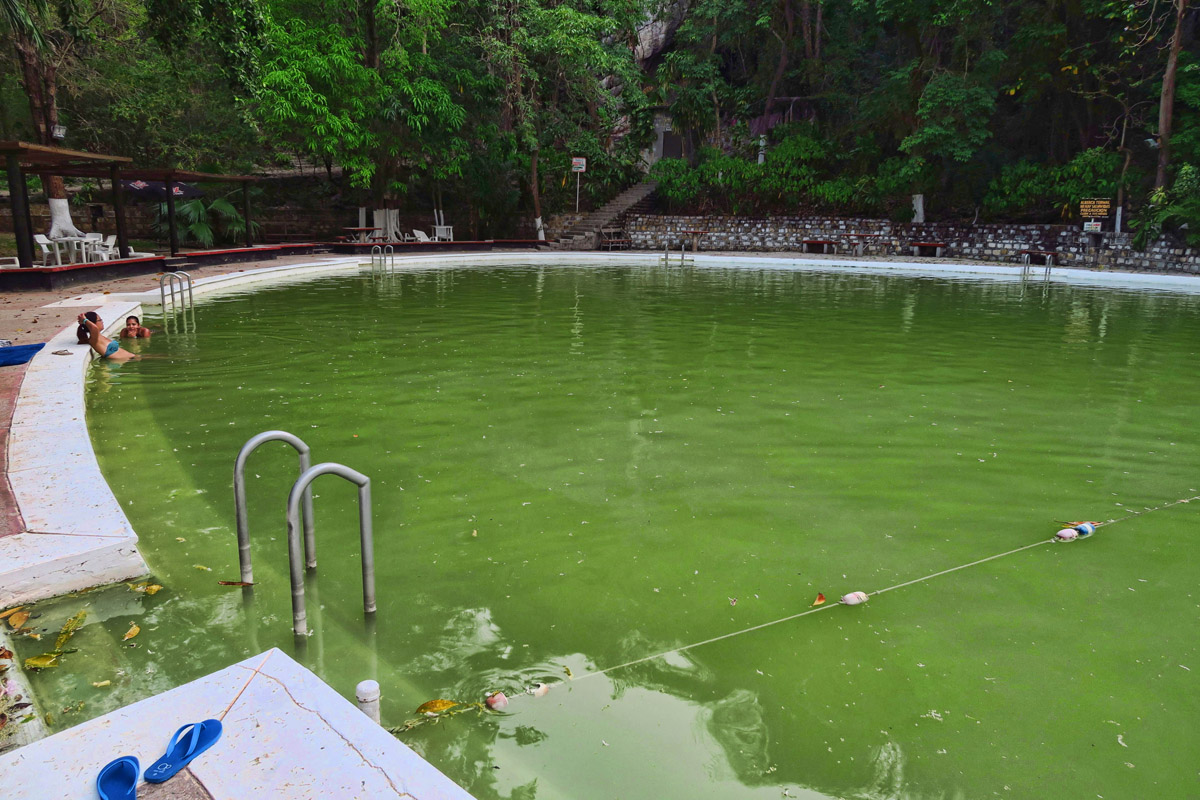 The giant sulfur spring-fed pool. If you are opposed to the smell of sulfur, they do have a traditional fresh-water pool.