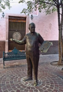 Bronze statue of Diego Rivera near Cafe Conquistador Coffee Shop.