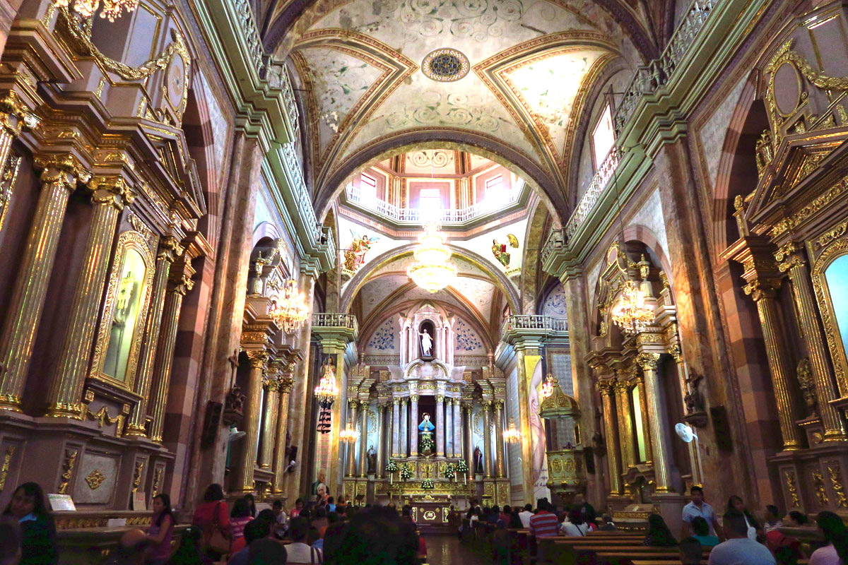 Inside of the church is particularly beautiful with its pastel colors edged with gold.