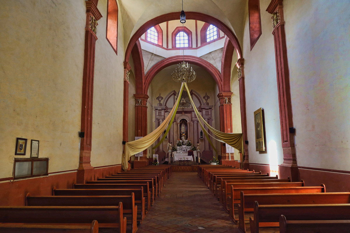 Unlike most Mexican churches, the ornate decor is on the outside, not the inside.