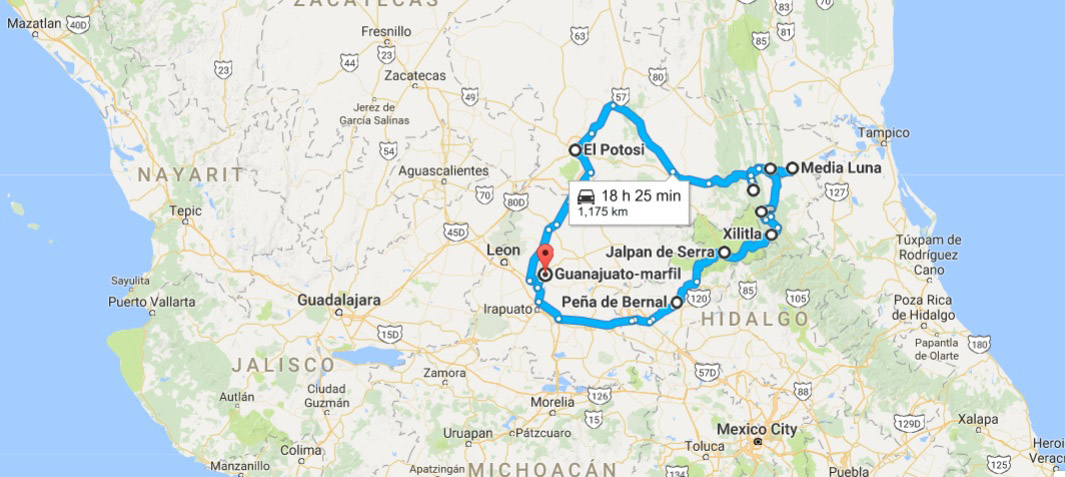 Our loosely traced Huasteca itinerary.