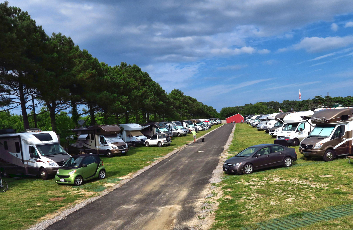 Sixty-four View/Navion rigs descend on Sunset Beach RV Park in Cape Charles, VA.