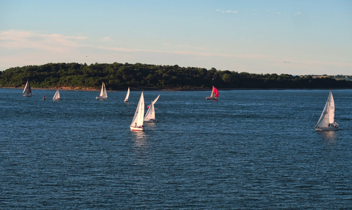 Watching the Wednesday night sail races from Phyllis and Diana's balcony. Better than a movie!