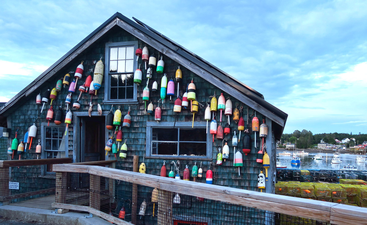 Different colored buoys identify commercial and personal traps below.