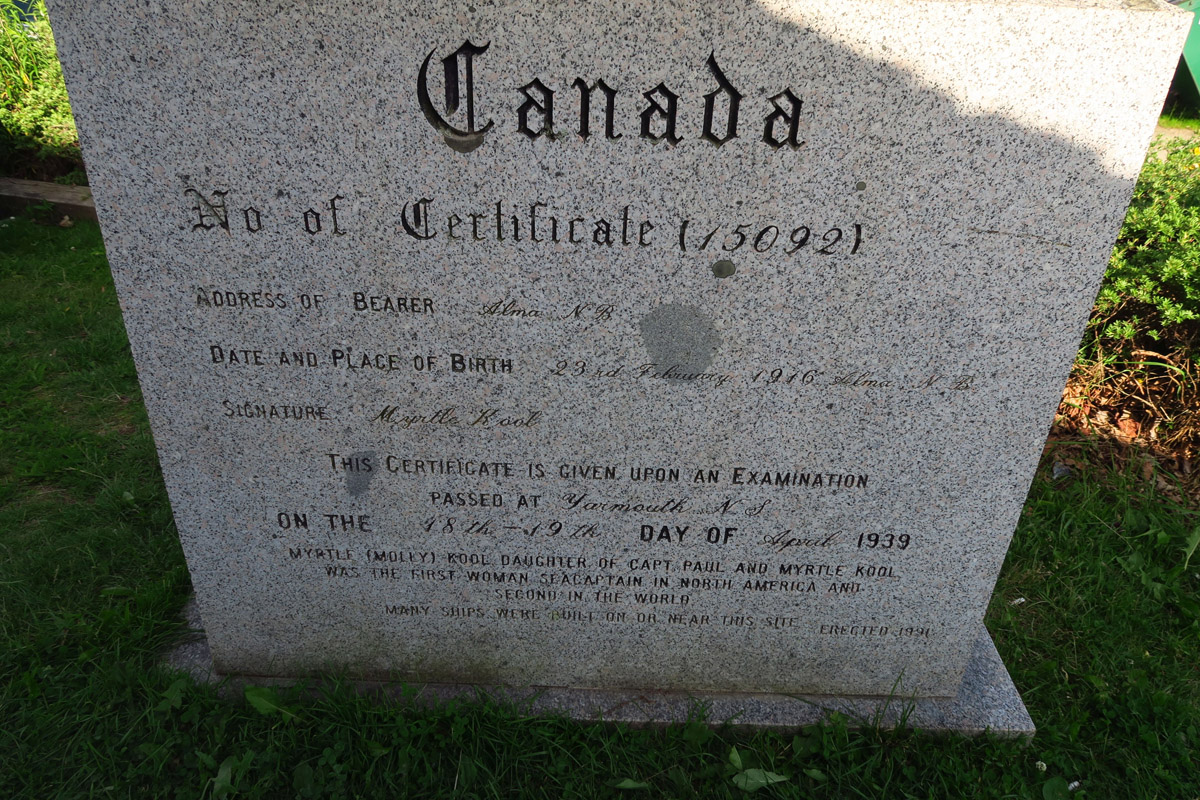 A monument commemorating Myrtle 'Molly' Kool, Canadian-born American sea captain, North America's first registered female sea captain.